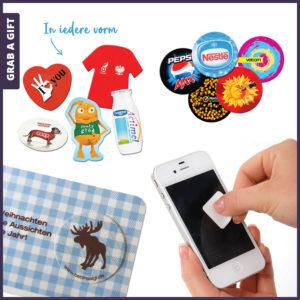 Grab a Gift - Ronde screencleaner stickycleaner bedrukken met logo