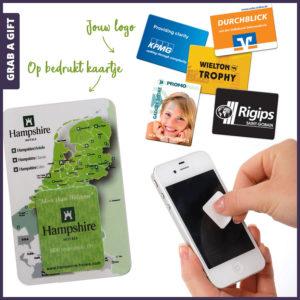 Grab a Gift - Sticky Cleaner bedrukken met logo op Kaartje in Polybag