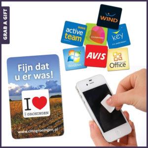 Grab a Gift - Vierkante screencleaner stickycleaner bedrukken met logo