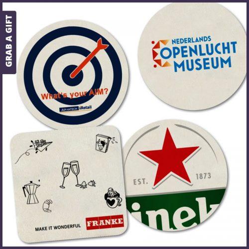 Grab a Gift - Bierviltjes in kleur bedrukken met logo of reclame