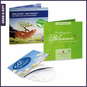 Grab a Gift Green-Card - bedrukt wikkelkaartje met zaadpapier