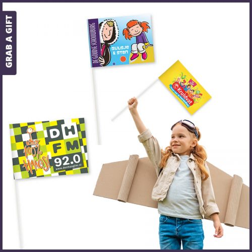 Grab a Gift - papieren zwaaivlaggetjes bedrukken met logo en reclame