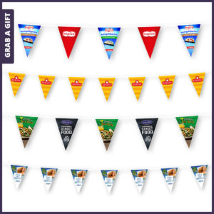 Grab a Gift vlaggenlijn - Slingers met puntwimpels bedrukken met logo