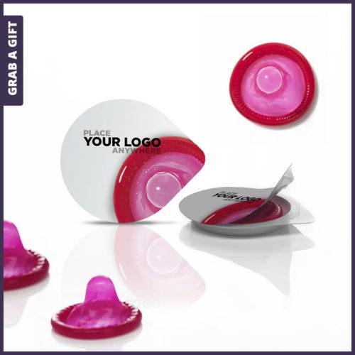 Grab a Gift - Full Colour logo bedrukken op Condoom Kuipje met condoom