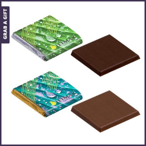Grab a Gift - Vierkante Napolitain chocolaatje bedrukken met logo