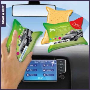 Grab a Gift - Autospons met Full Colour Bedrukking aan Microvezel Zijde