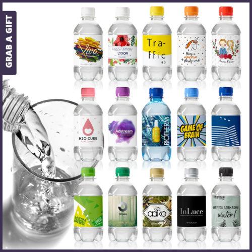 Grab a Gift - Etiketten waterflesjes 330 ml met schroefdop bedrukken met logo