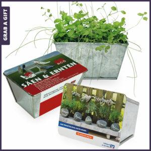 Grab a Gift Herb-Garden - metalen bloembakje met logo op wikkel