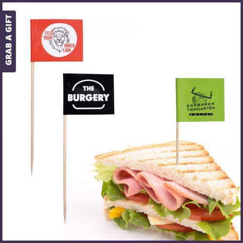 Grab a Gift - Hamburgerprikkers en sandwichprikkers met logo bedrukken