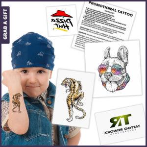 Grab a Gift - plaktattoo met full colour bedrukking logo of artwork