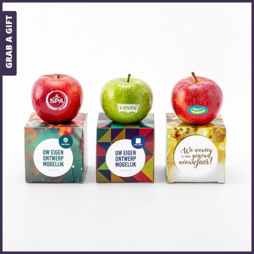 Grab a Gift Relatiegeschenken - Rode of groene appels bedrukken met logo