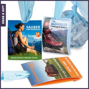 Grab a Gift - Bedrukte dispenser (pocket-bag-mini) met 3 afval zakken