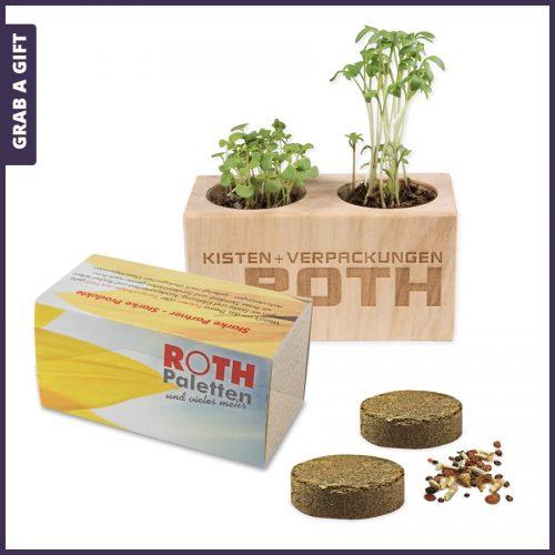 Grab a Gift - Houten bloempotje met logo gravering en zaadjes