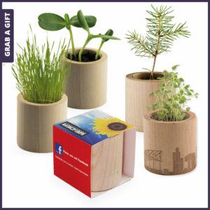 Grab a Gift Plant-Wood - Rond bloempotje met zaadjes van hout bedrukken met logo