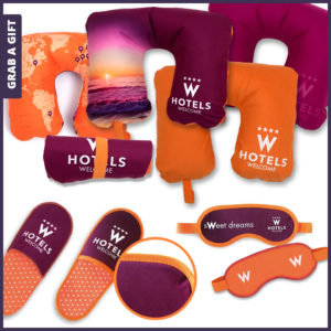 Grab a Gift - Reiskussens, oogmaskers, hotelslippers met reclame bedrukking