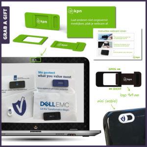 Grab a Gift - Webcamcover bedrukken met logo bedrukking
