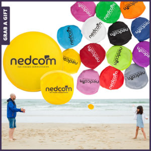 Grab a Gift - Bedrukken van logo op opvouwbare frisbee en zakje