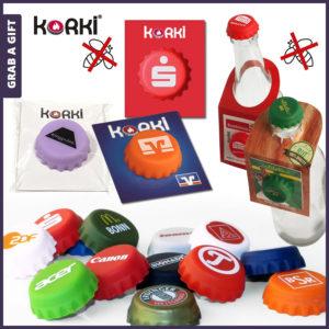 Grab a Gift - Gepattenteerde KorKi Flessendop met logo bedrukking
