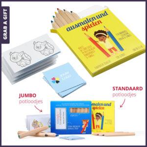 Grab a Gift - set van 6 kleurpotloodjes en 26 memokaartjes in full colour bedrukt doosje