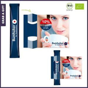 Grab a Gift - Theestaafje met logo in flyer met Full Colour Bedrukking