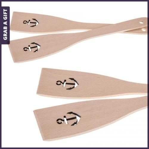Grab a Gift - Houten spatels met anker en lasergravering in steel