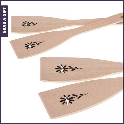 Grab a Gift - Houten spatel met lasergesneden bloem en lasergravering in steel