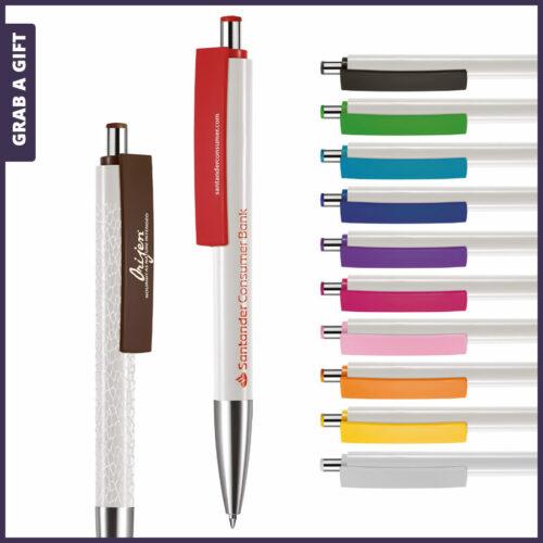 Grab a Gift - Logopennen e-Fifty XL flash met rondom bedrukking en logo bedrukken op clip