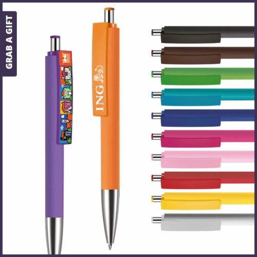 Grab a Gift - Logopennen e-Fifty XL soft met rondom bedrukking en logo bedrukken op clip