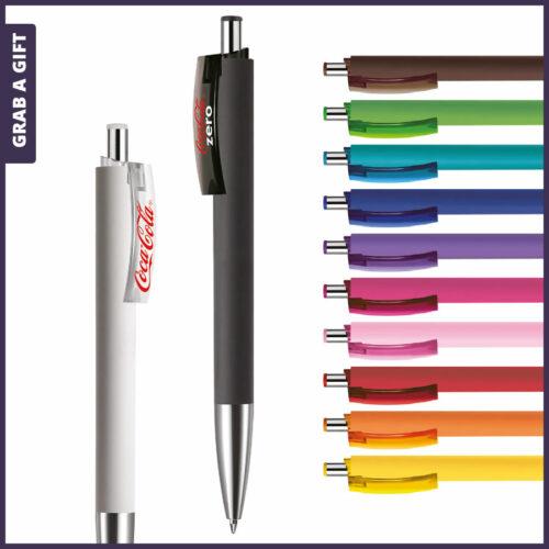 Grab a Gift - Logopennen e-Fifty soft met patroonbedrukking en logo bedrukken op clip