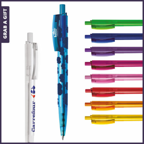 Grab a Gift Reclamepennen - Logopennen e-Twenty Frost rondom bedrukken met logo opdruk op clip