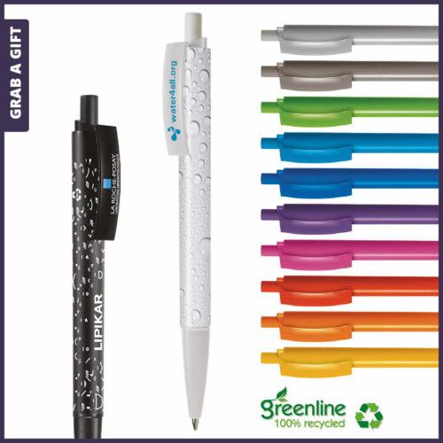 Grab a Gift Reclamepennen - Logopennen e-Twenty recycled bedrukken met logo opdruk op houder en clip