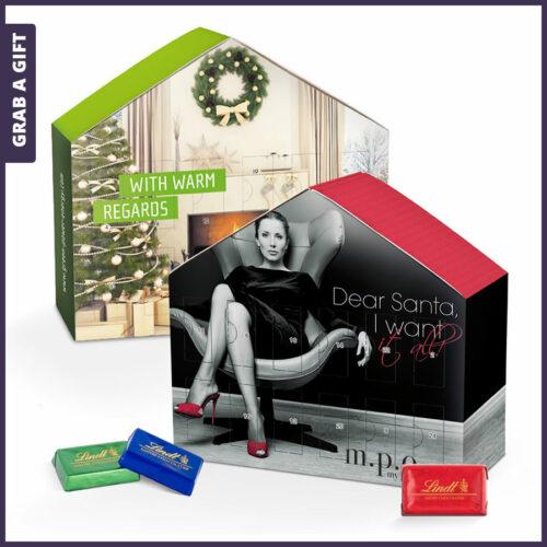 Grab a Gift Relatiegeschenk - Advent Kalender Huis bedrukken met logo en eigen ontwerp