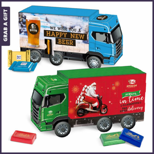 Grab a Gift Relatiegeschenk - Advent Kalender Truck Vrachtwagen bedrukken met logo en eigen ontwerp