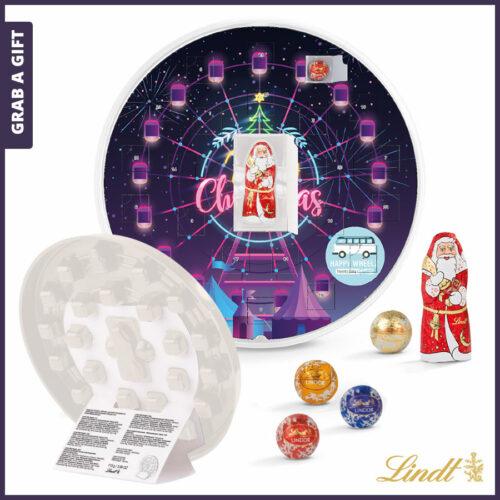 Grab a Gift Relatiegeschenk - Ronde Adventskalender in kleur bedrukken met logo en reclame