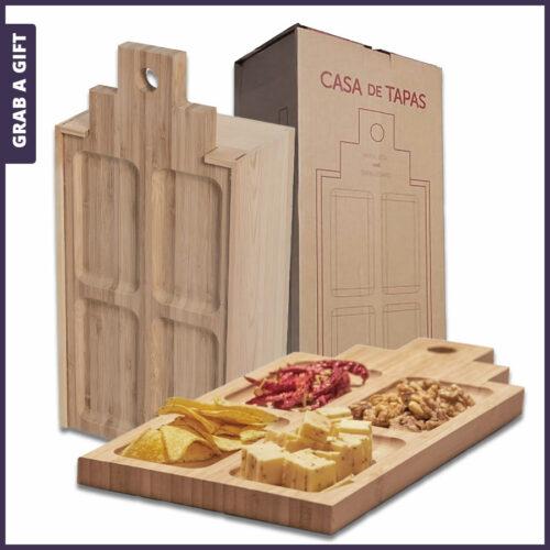 Grab a Gift Rackpack Wijnkistjes Graveren - Casa deTapas Large met logo graveren