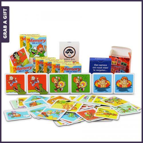 Grab a Gift - Kaartjes en doosje memory spel bedrukken met logo en afbeeldingen