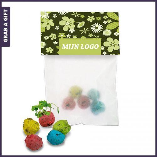 Grab a Gift - 5 zaadballetjes in zakje met bedrukt reclamekaartje
