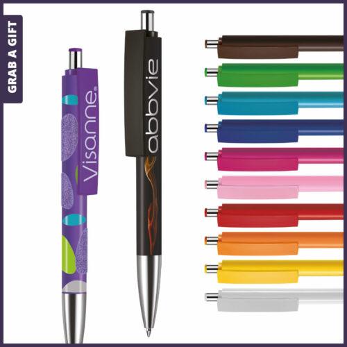 Grab a Gift - Logopennen e-Fifty XL solid met rondom bedrukking en logo bedrukken op clip