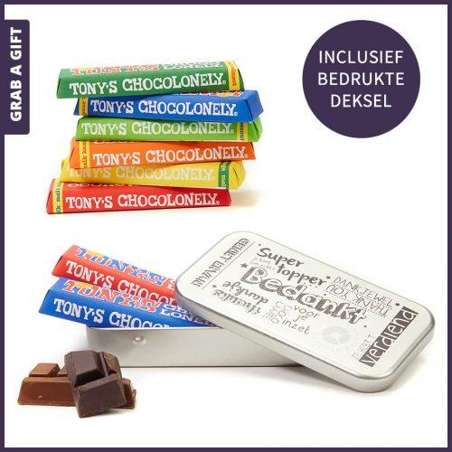 Grab a Gift - 2 Mini Tony's Chocolonely in bedrukt blikje als relatiegeschenk