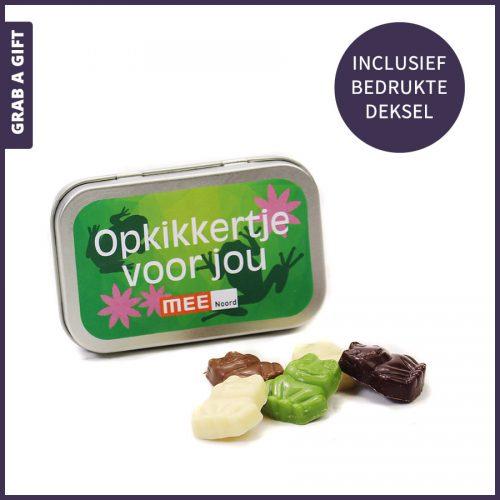 Grab a Gift - chocolade kikkertjes als opkikkertje in blikje met bedrukte deksel