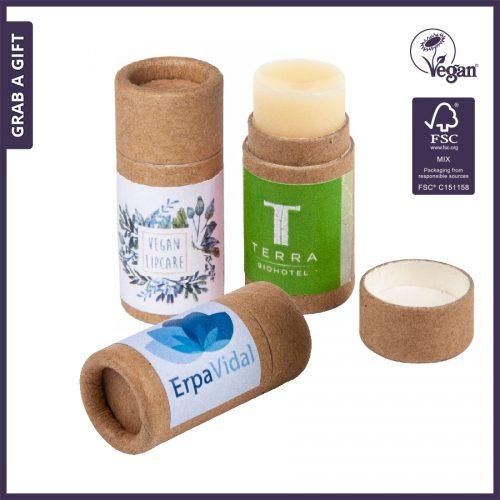 Grab a Gift Relatiegeschenken - Lipbalsem in eco verpakking met logo opdruk op etiket
