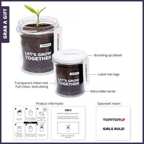 Grab a Gift - GROEI Kit met natuurlijke aarde en eigen branding logo