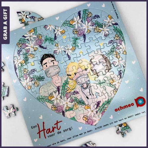 Grab a Gift Realtiegeschenken - Hartvormige puzzel bedrukken met eigen ontwerp in kleur