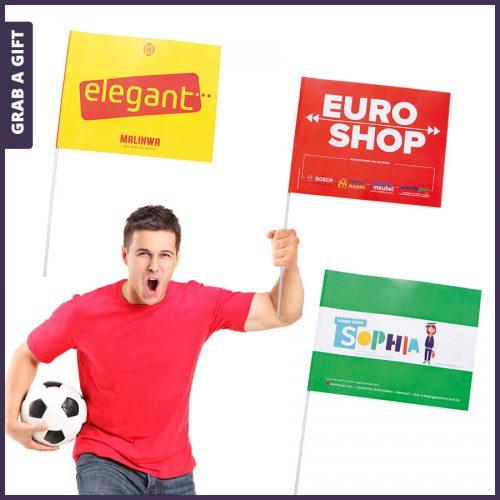 Grab a Gift - supportersvlaggen van papier bedrukken met reclame in kleur