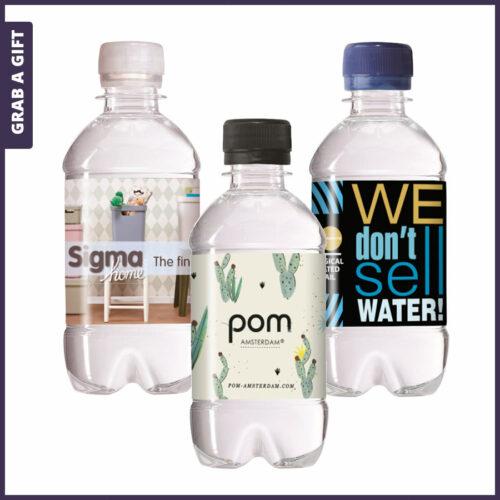 Grab a Gift - 330 ML Licht bruisend mineraalwater met etiket in kleur bedruk