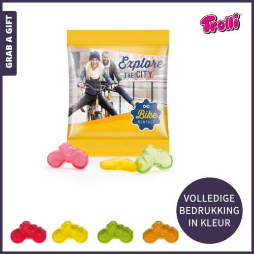 Grab a Gift relatiegeschenken - Fruitgum fietsjes in zakje met eigen ontwerp in kleur