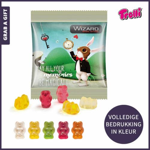 Grab a Gift relatiegeschenken - Gummybeertjes in bedrukt zakje per express