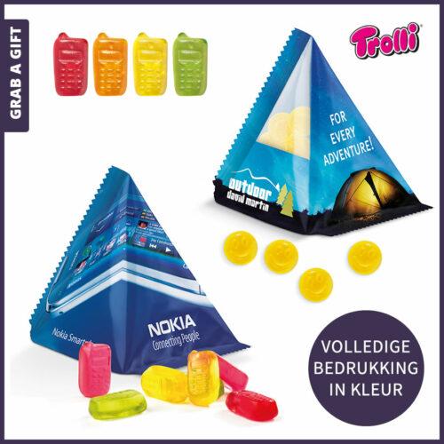 Grab a Gift relatiegeschenken - Piramidezakje met fruitgums bedrukken in kleur