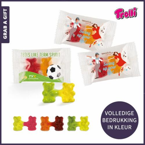 Grab a Gift relatiegeschenken - Team van gummibeertjes in flowpack bedrukt met logo of ander ontwerp