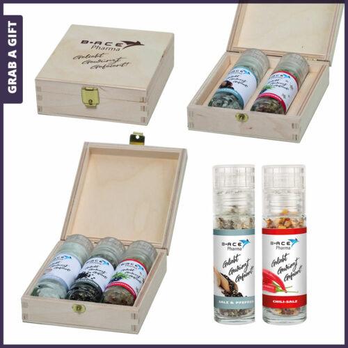 Grab a Gift - Kistje met bedrukte kruidenmolentjes als duurzaam relatiegeschenk
